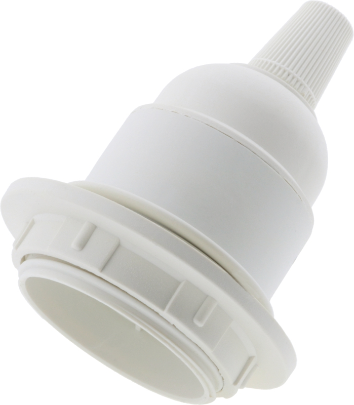 Edison Screw Bulb Holder E27 in Black /&White for Lamp or Pendant With Shade Ring