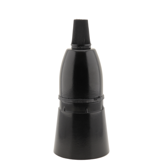 Lampholder B22 Black With Shade Skirt and Nylon Cord Grip