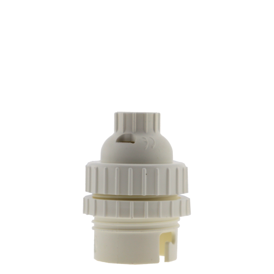 Lampholder B22 White With Shade Ring and 10mm Threaded Entry
