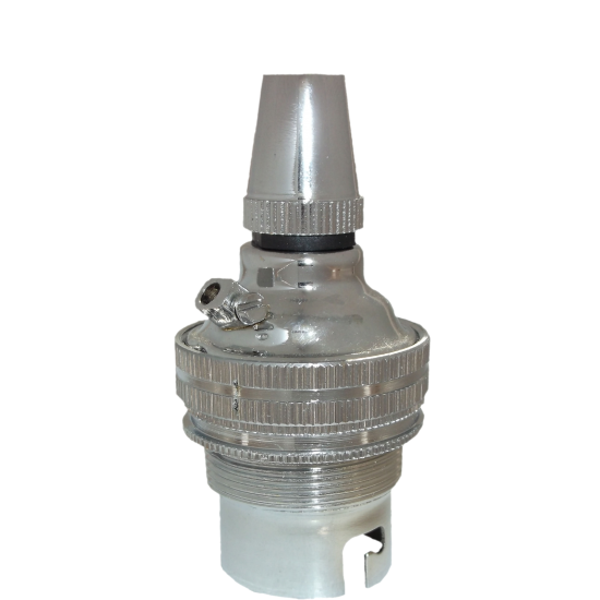 Ceiling Pendant Kit with Large Rose and B22 Lampholder in Silver Nickel Finish with White Flex