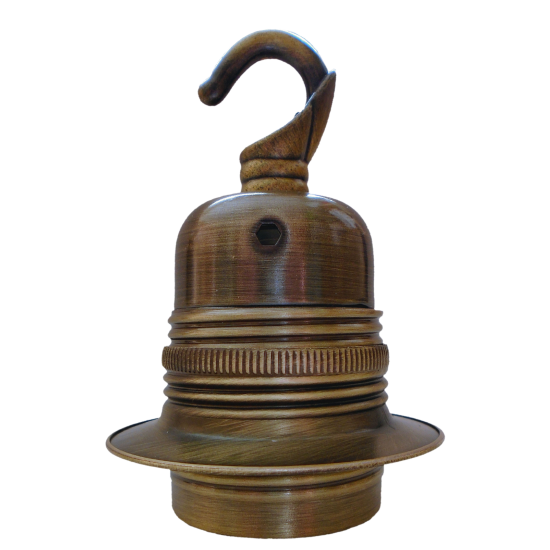 Lampholder E27 Antique Brass Finish with Shade Ring and Chain Hook