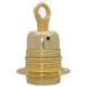 Lampholder E27 in Brass Finish with Shade Ring, Metal Loop