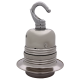 Metal Edison Screw Bulb Holder (E27) with Shade Ring and Metal Hook in Silver Nickel Finish