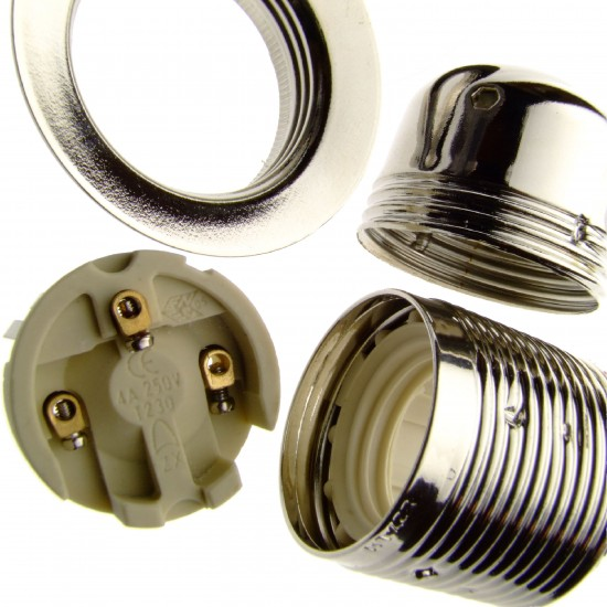 Metal Edison Screw Bulb Holder (E27) with Shade Ring and Metal Cord Grip in Silver Nickel Finish