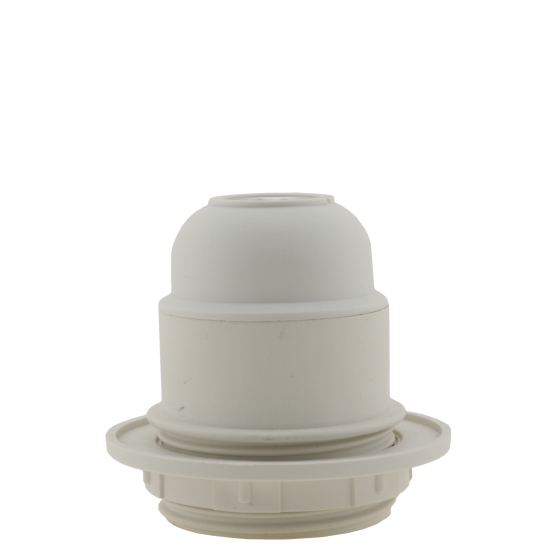 Lampholder E27 White Thermoset Plastic with Shade Ring, 10mm Threaded Entry
