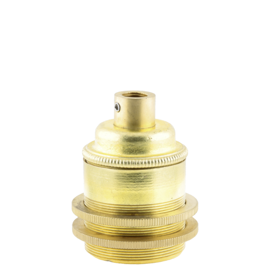 Traditional Edison Screw Bulb Holder (E27) with 2 Shade Rings with Lockable 10mm Threaded Entry in Raw Brass Finish