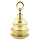 Traditional Edison Screw Bulb Holder (E27) with 2 Shade Rings and Metal Deco Styled Loop in Raw Brass Finish