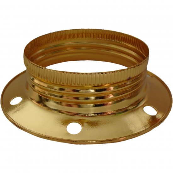 Lampholder E27 in Brass Finish Additional Shade Ring