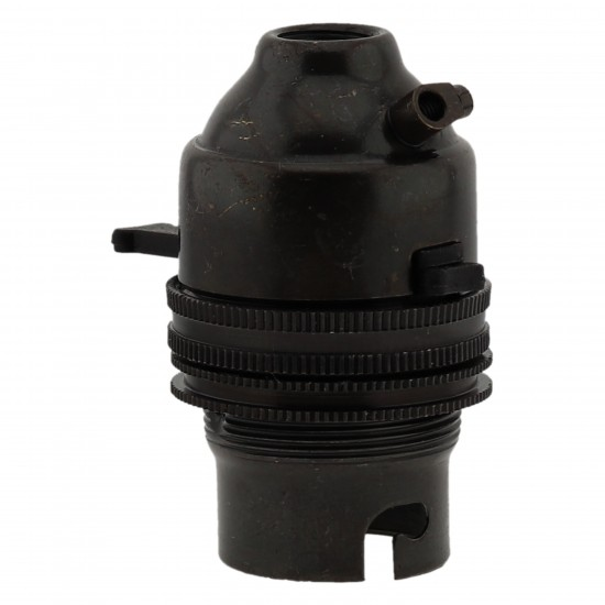 Switched Lampholder B22 Dark Bronze with Shade Ring, 10mm Threaded Entry