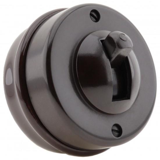 Crabtree Bakelite Brown Ceramic Toggle Light Switch 1Way Recessed Base