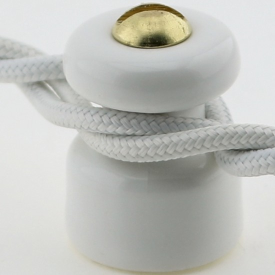 Porcelain Cable Management for 2 or 3 CoreTwisted Braided Cloth Covered Lighting Flex