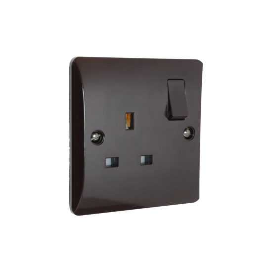Single Switched Socket in Brown Bakelite 240V 13Amp