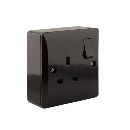 Single Switched Socket in Brown Bakelite 240V 13Amp on Wall Pattress