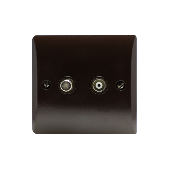 Twin TV Coaxial Aerial & Satellite Socket in Retro Design