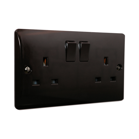 Double Switched Socket in Brown Bakelite 240V 13Amp