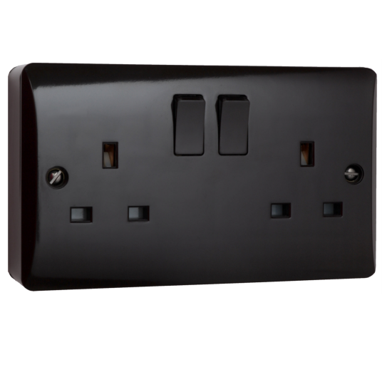 Double Socket on Surface Pattress in Brown Bakelite