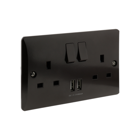 13 Amp 2 Gang Socket with Dual USB 3.1A in Brown Bakelite
