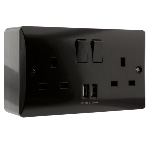 13 Amp 2 Gang Socket with Dual USB 3.1A on Deep Patress in Brown Bakelite