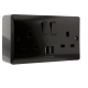 13 Amp 2 Gang Socket with Dual USB 3.1A on Deep Patress in Brown Bakelite