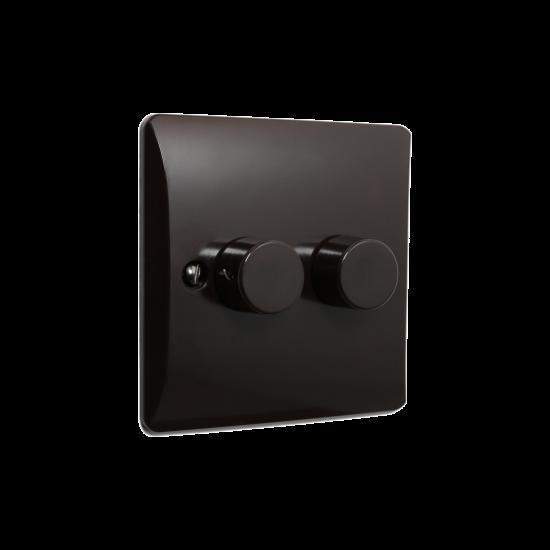 Brown Bakelite Light Dimmer Switch 2Way 2Gang