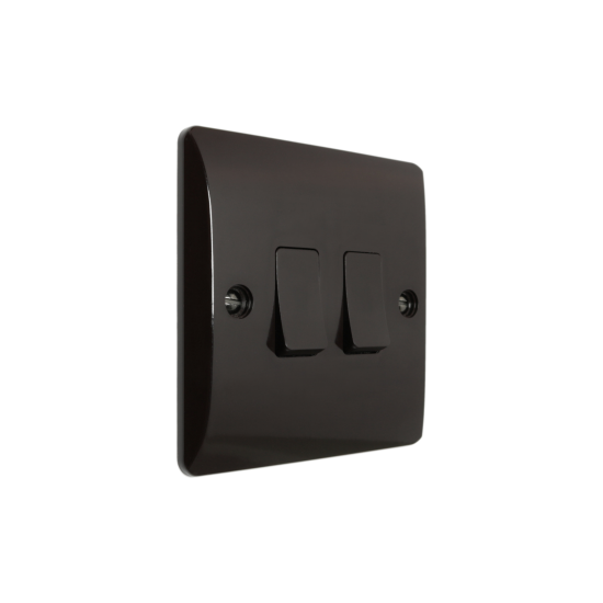 Wall Switch 2 Way 2 Gang 10 Amp in Brown Bakelite