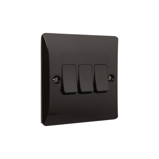 Wall Switch 2 Way 3 Gang 10 Amp in Brown Bakelite