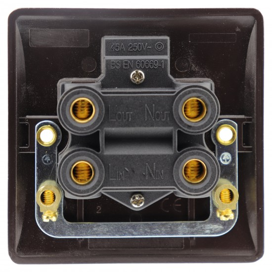 45 Amp DP Switch with Neon Lamp in Brown Bakelite