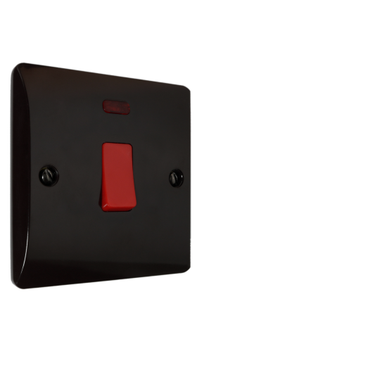 20 Amp DP Switch with Neon Lamp in Brown Bakelite