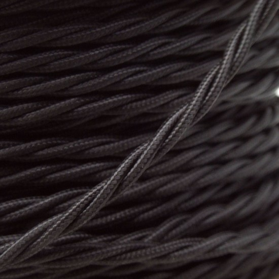 Cloth Covered Braided Twisted Flex 3Core 3Amp in Black