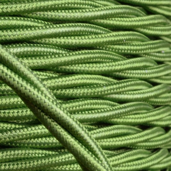 Cloth Covered Braided Twisted Flex 3Core 3Amp in Green