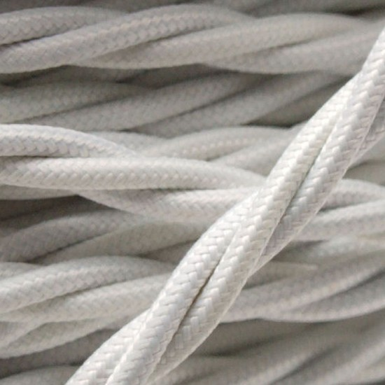 Cloth Covered Braided Twisted Flex 3Core 6Amp in White
