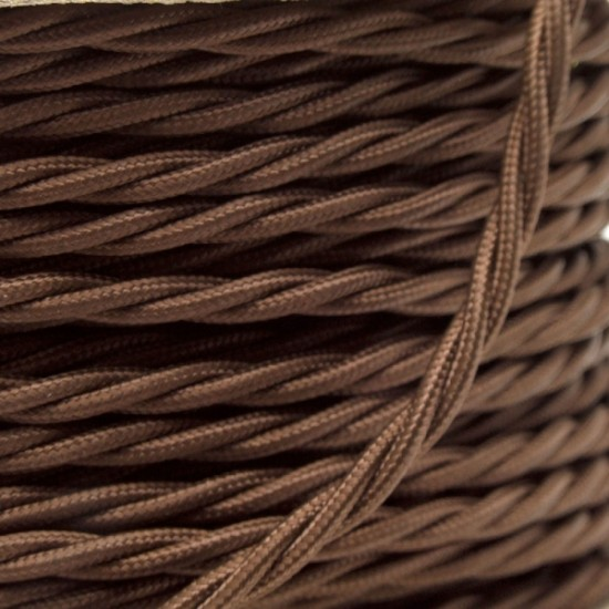 Cloth Covered Braided Twisted Flex 3Core 6Amp in Mocha Brown