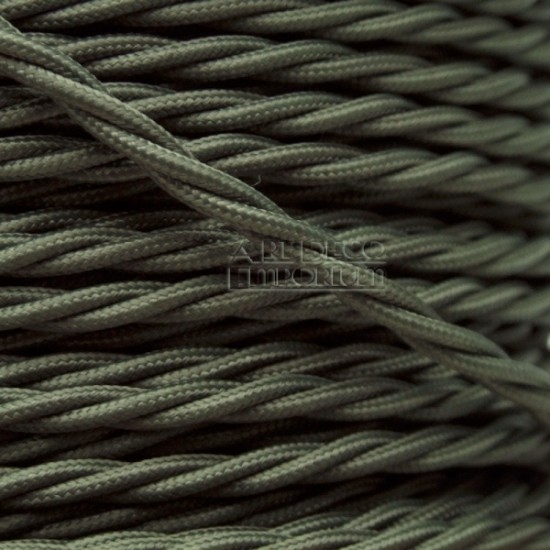 Cloth Covered Braided Twisted Flex 3Core 6Amp in Khaki Green