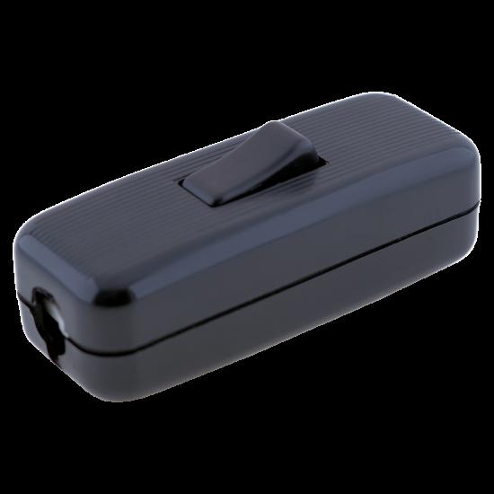 Deco Styled In-line Rocker Switch 3 Wire 1 Way in Black