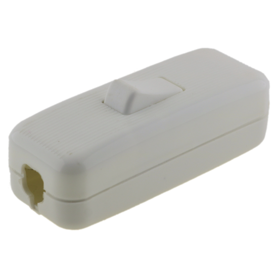 Deco Styled In-line Rocker Switch 3 Wire 1 Way in White