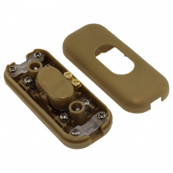 Small In-line Rocker Switch 3 Wire Dual Pole in Gold