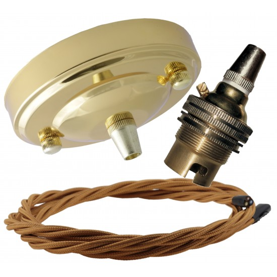 Large Brass Ceiling Pendant Kit & B22 Lampholder with Antique Gold Flex