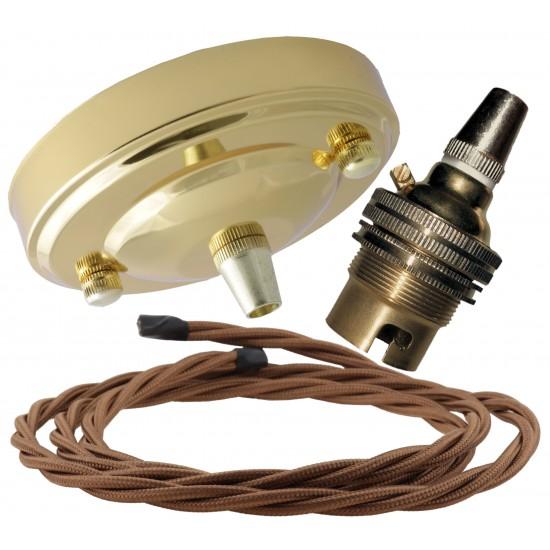Large Brass Ceiling Pendant Kit & B22 Lampholder with Bronze Flex