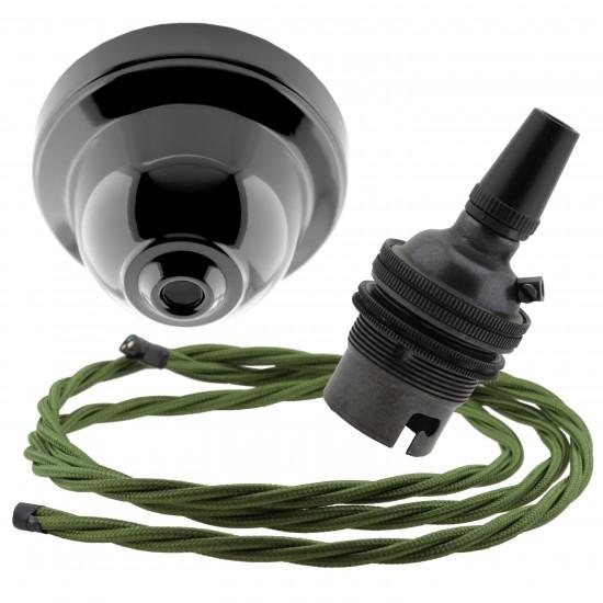 Black Bakelite Ceiling Pendant Kit & B22 Bronze Bulb Holder with 1M Green Flex
