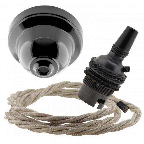 Black Bakelite Ceiling Pendant Kit & B22 Bronze Bulb Holder with 1M Linen Flex