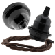 Black Bakelite Ceiling Pendant Kit & E27 Bulb Holder with Mocha Brown Flex