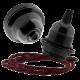 Black Bakelite Ceiling Pendant Kit & E27 Bulb Holder with Rich Burgundy Flex