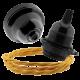 Black Bakelite Ceiling Pendant Kit & E27 Bulb Holder with Gold Flex