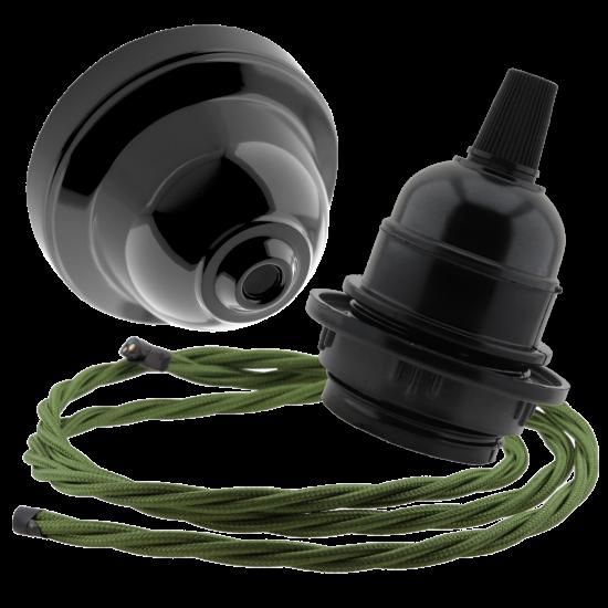 Black Bakelite Ceiling Pendant Kit & E27 Bulb Holder with Green Flex