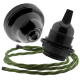 Black Bakelite Ceiling Pendant Kit & E27 Bulb Holder with Green Flex