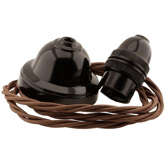 All Brown Bakelite Ceiling Pendant Kit & B22 Bulb Holder with 1M Bronze Flex