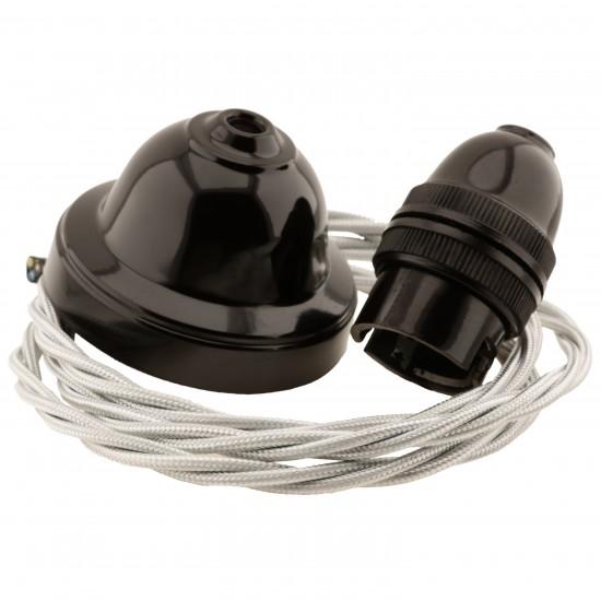 All Brown Bakelite Ceiling Pendant Kit & B22 Bulb Holder with 1M Silver Flex