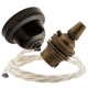 Brown Bakelite Ceiling Pendant Kit with B22 Antique Brass Lampholder & Classic Ivory Flex