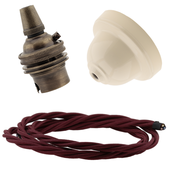 Ivory Bakelite Ceiling Pendant Kit with B22 Antique Brass Lampholder & Rich Burgundy Flex