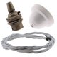 White Bakelite Ceiling Pendant Kit with B22 Antique Brass Lampholder & Silver Flex